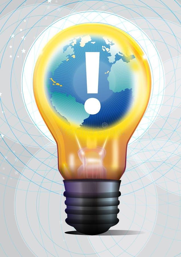 3D light bulb with globe royalty free illustration