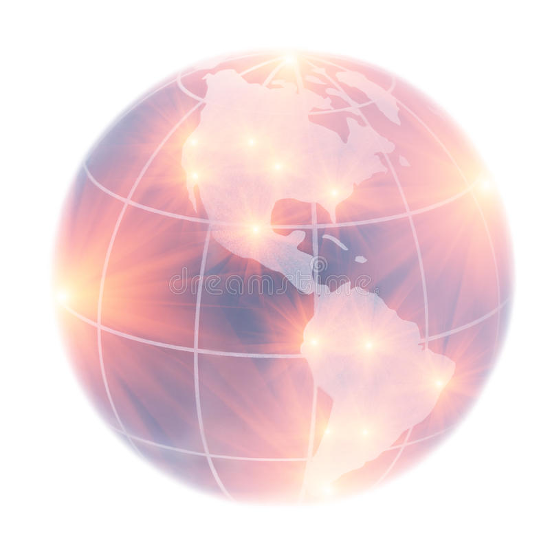 Globeon North America and South America illuminated by stock illustration