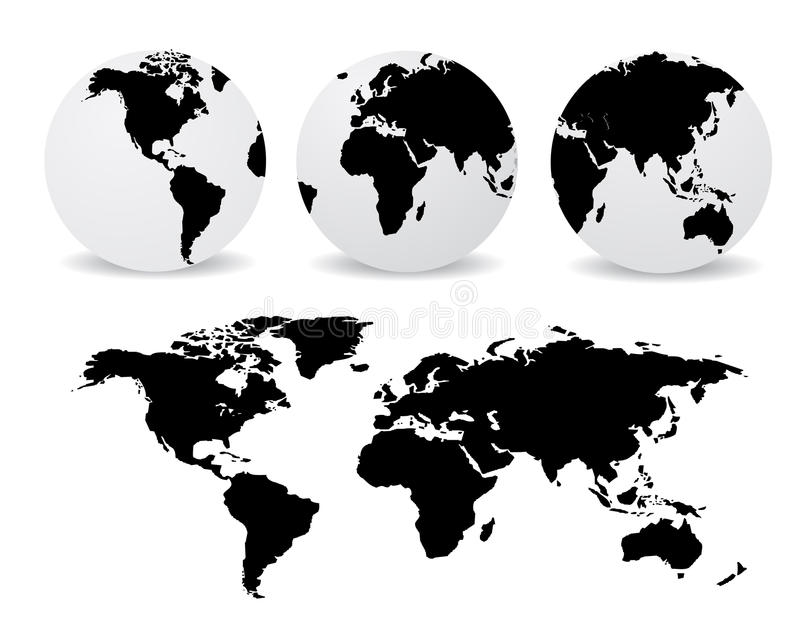 Globes with abstract world map royalty free illustration