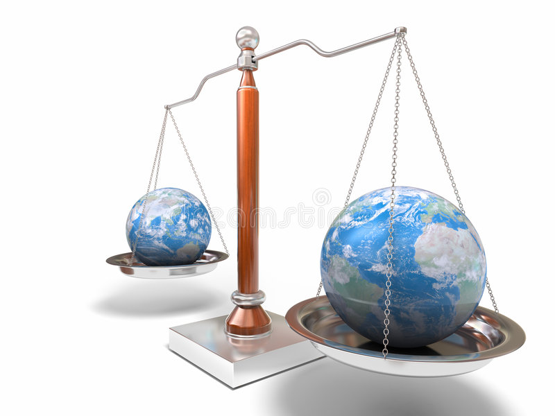 Globes on balance scale. 3d image of balance scale on white vector illustration