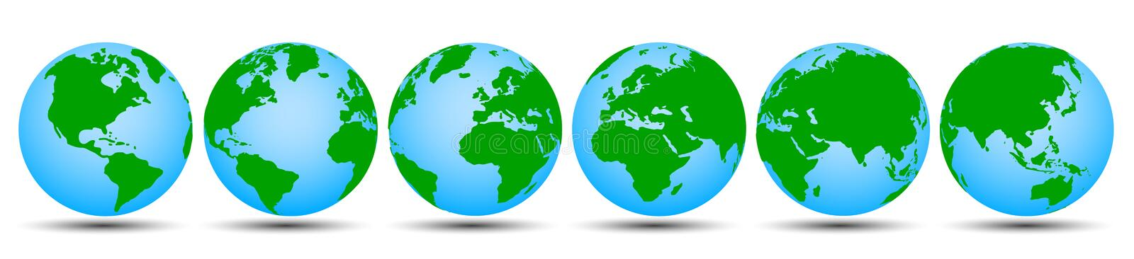 Globes with continents in different variations - vector. Globes with continents in different variations - stock vector vector illustration