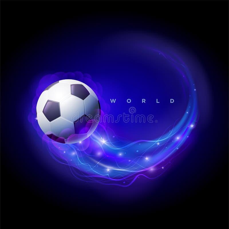 Globes de comète et du monde de ballon de football sur le fond noir de l'espace illustration stock