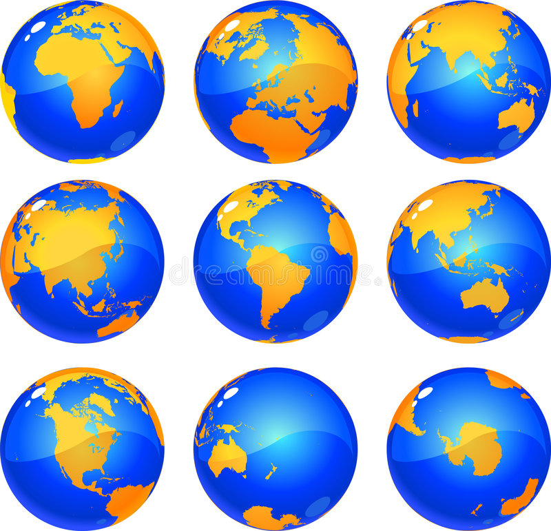 globes de la terre illustration stock