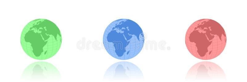 Globes de RVB illustration libre de droits
