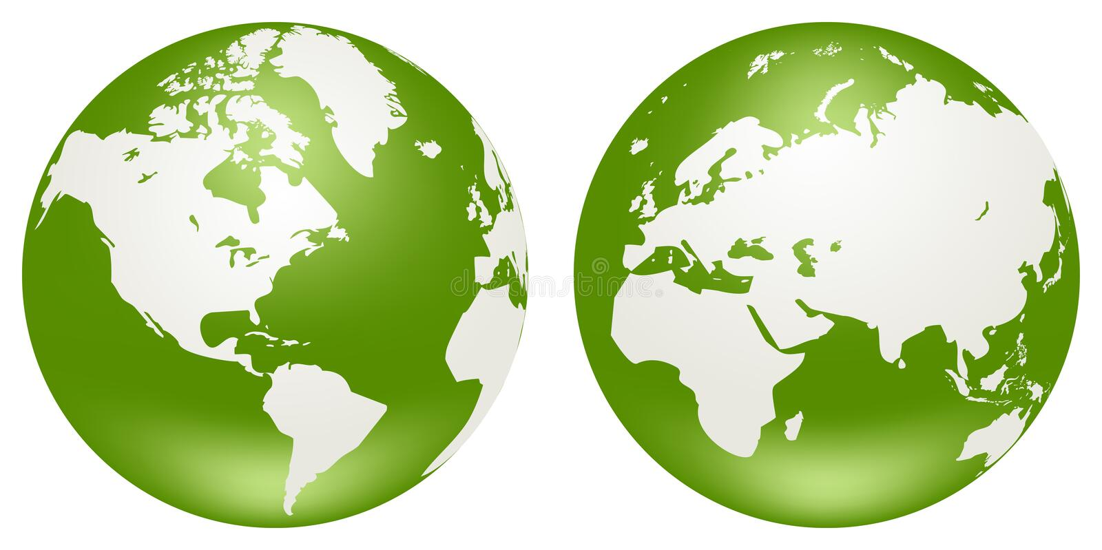 Globes of Earth. Two globes of Earth, isolated on a white