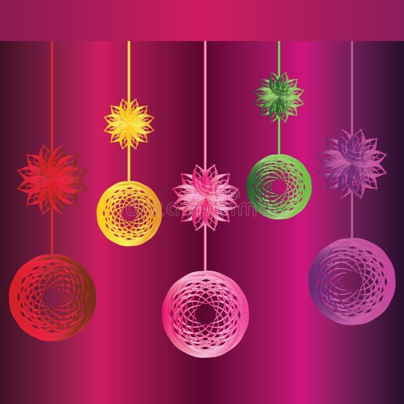 Globes et étoiles colorés de Noël illustration libre de droits