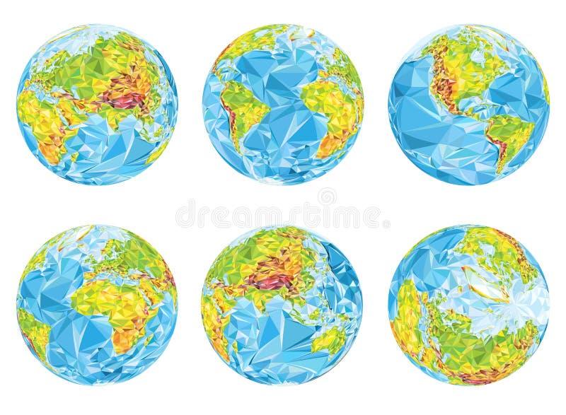 Globes géographiques de la terre dans différentes positions illustration stock