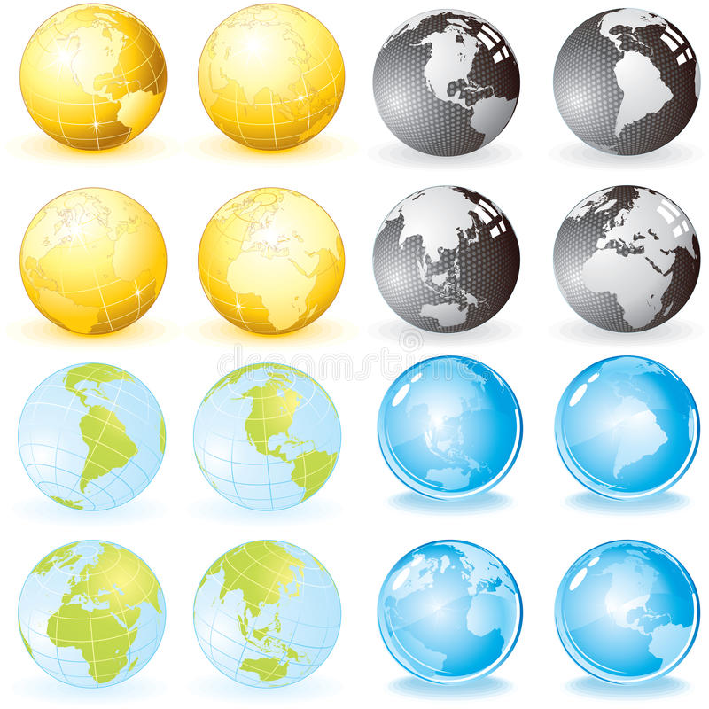 Download Globes set stock vector. Image of green, atlas, icon - 14255281