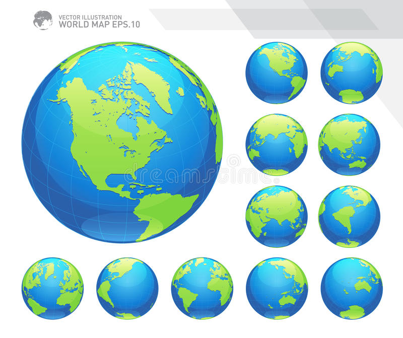 Globes showing earth with all continents. Digital world globe vector. Dotted world map vector. Vector Illustration Eps-10 vector illustration