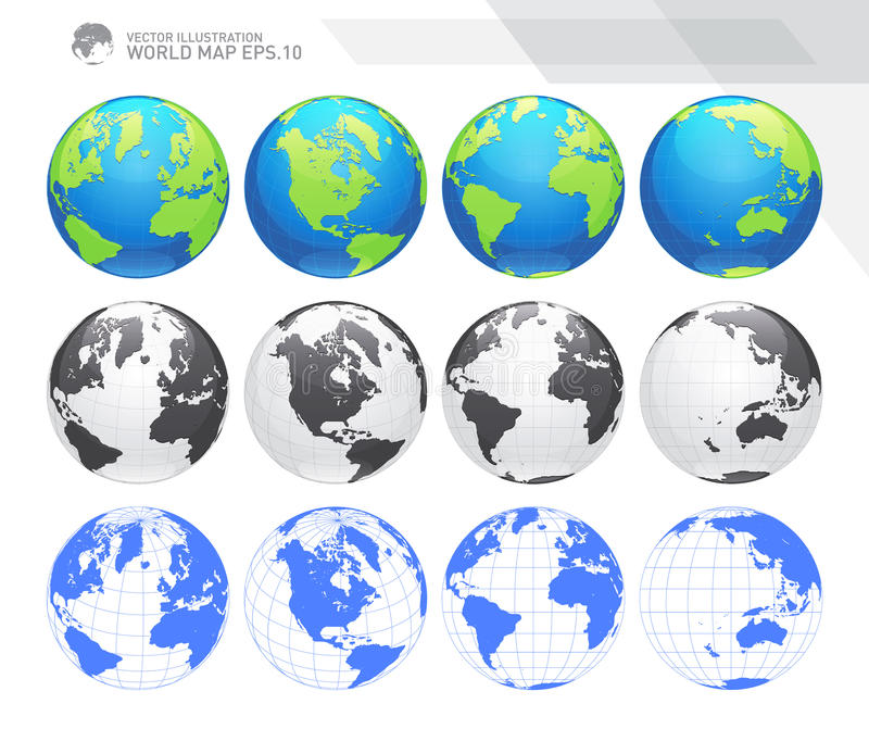 Globes showing earth with all continents. Digital world globe vector. Dotted world map vector. stock illustration