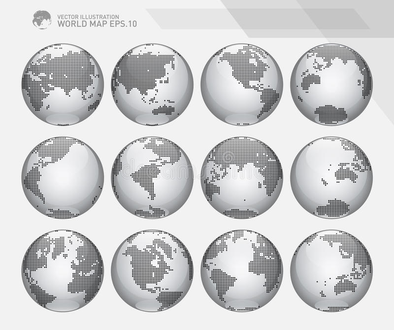 Globes showing earth with all continents. Dotted world globe vector. royalty free illustration