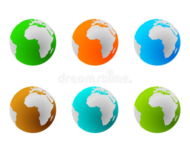 Globes in various colours vector illustration