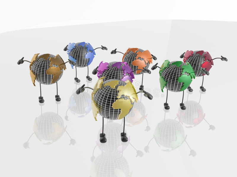 Globes on white vector illustration