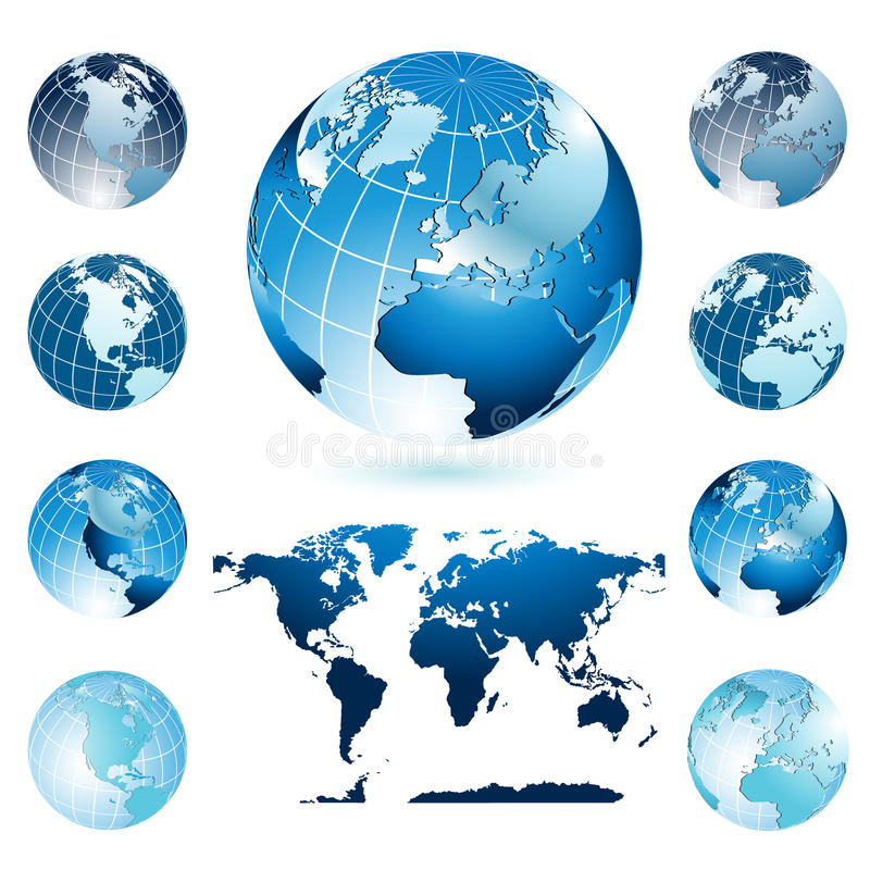 Globes and World Map. Vector illustration representing world map and diferent position of four colorful globes royalty free illustration