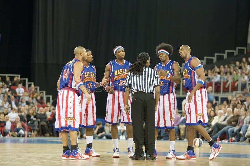 Globetrotters van Harlem basketbalteam in een tentoongesteld voorwerp royalty-vrije stock foto's
