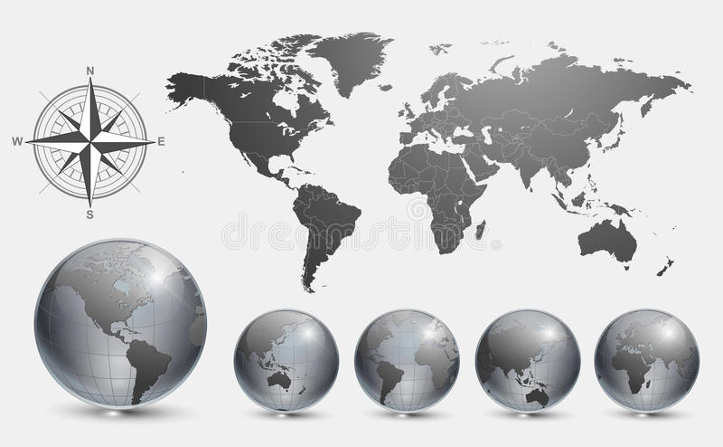 Globi con il programma di mondo illustrazione di stock