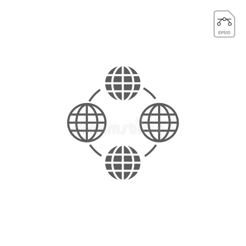 Globi della terra isolati su fondo bianco Icona piana del pianeta Terra Illustrazione di vettore o ispirazione di logo royalty illustrazione gratis