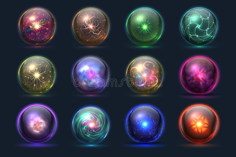 Globi di cristallo magici Palle magiche d'ardore, sfere paranormali misteriose dello stregone Insieme di vettore illustrazione di stock