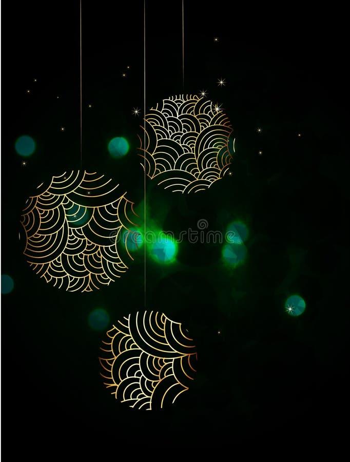 Globi dorati di natale illustrazione vettoriale