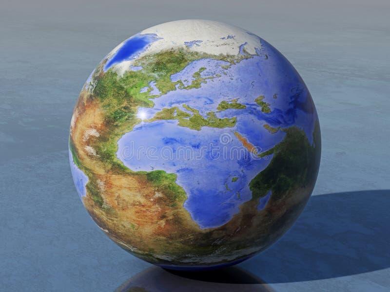 Globo, África e Europa invertidos da terra ilustração do vetor
