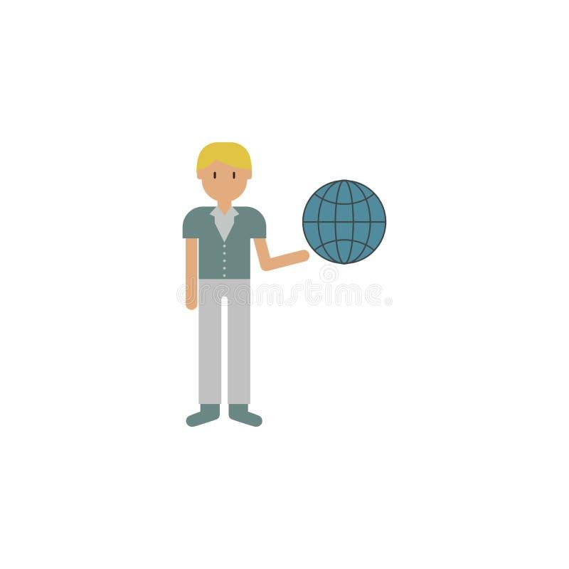 Globo, ícone dos desenhos animados do homem Elemento do ícone do curso da cor Ícone superior do projeto gráfico da qualidade Sina ilustração do vetor