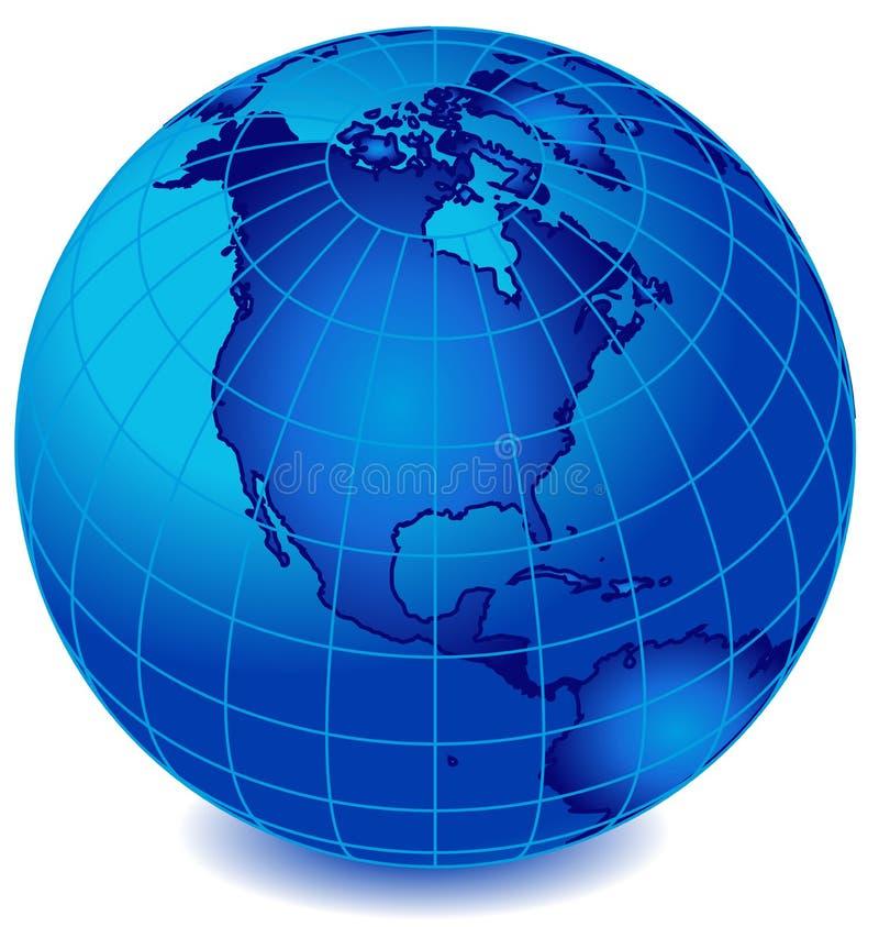 Globo 2 del mundo de la raya azul stock de ilustración