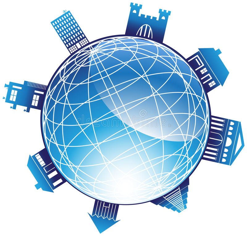 globo 3D con el cerco de edificios grandes ilustración del vector