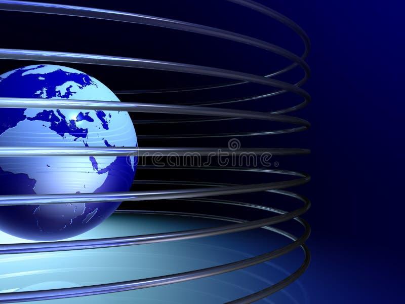 globo 3D con los anillos metálicos ilustración del vector