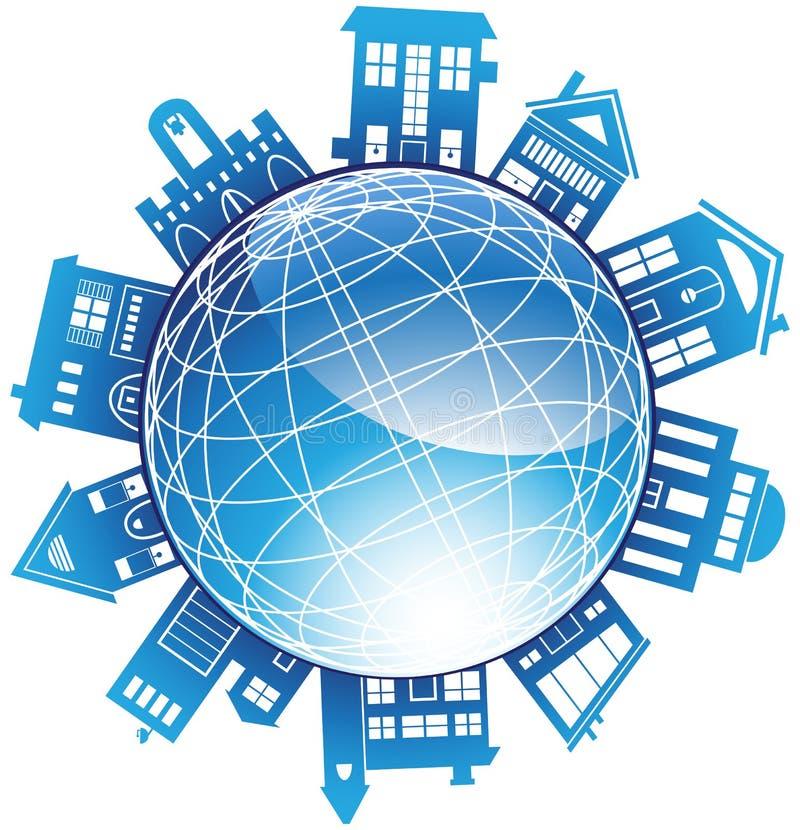 globo 3D con los edificios circundantes ilustración del vector