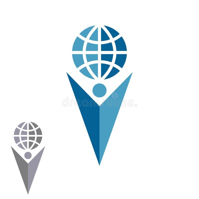 Globo abstracto de la tenencia del logotipo del hombre de la silueta, mano humana de la flecha de la forma encima de la compañía  libre illustration