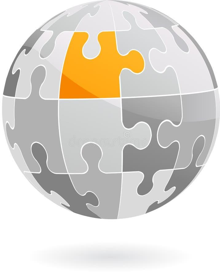 Globo abstracto del pedazo del rompecabezas del vector - insignia/icono stock de ilustración