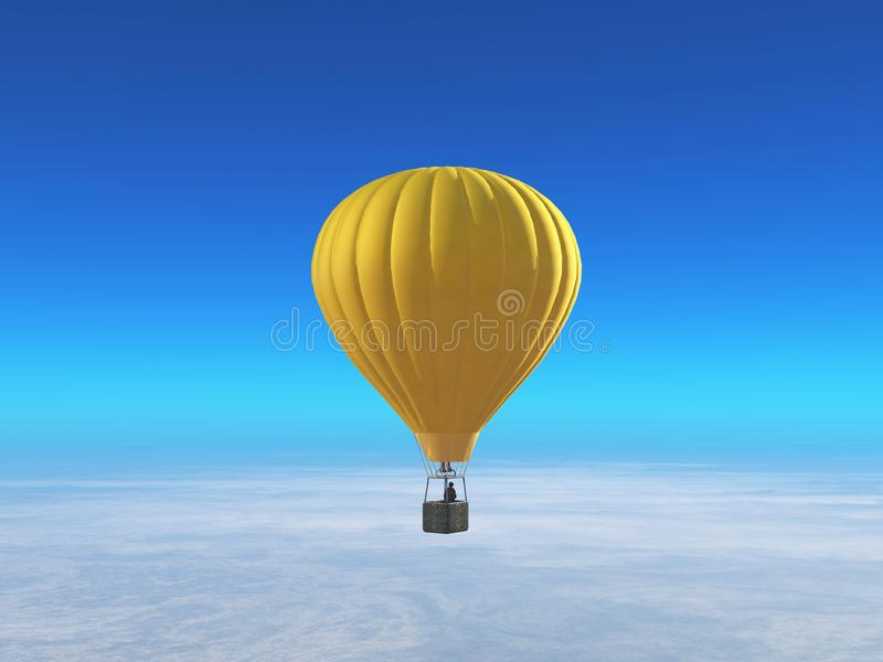 Globo amarillo del aire caliente ilustración del vector
