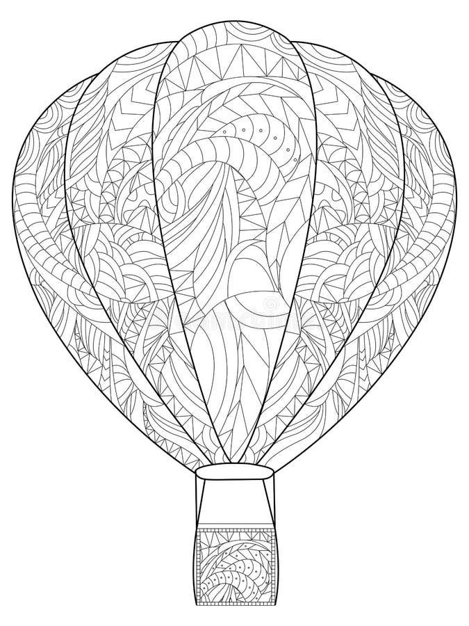 Globo antiesfuerzo adulto del colorante El ejemplo de líneas negras garabatea, el fondo blanco libre illustration