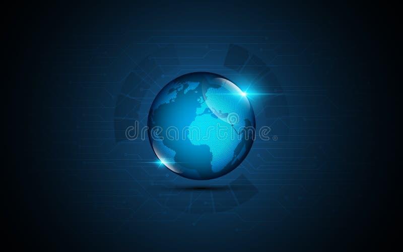 Globo astratto con il fondo di concetto dell'innovazione di tecnologia di fi di sci della mappa di mondo illustrazione vettoriale