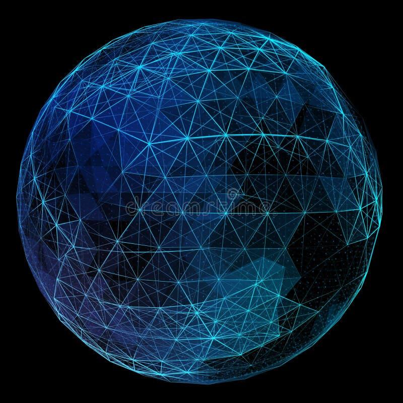 Globo azul abstracto de la red Concepto de la tecnología de foto de archivo
