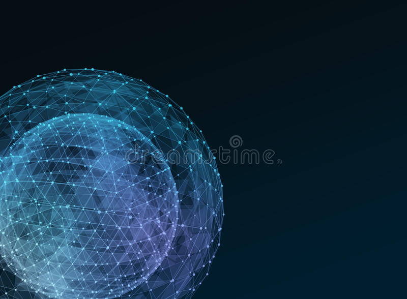 Globo azul abstracto de la red Concepto de la tecnología de comunicación global ilustración del vector