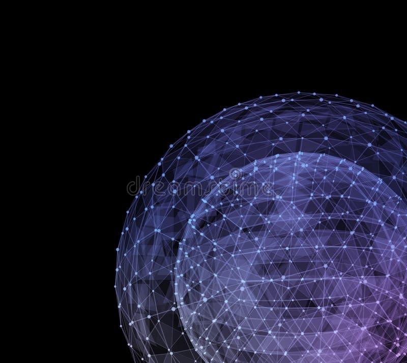 Globo azul abstracto de la red Concepto de la tecnología de comunicación global libre illustration