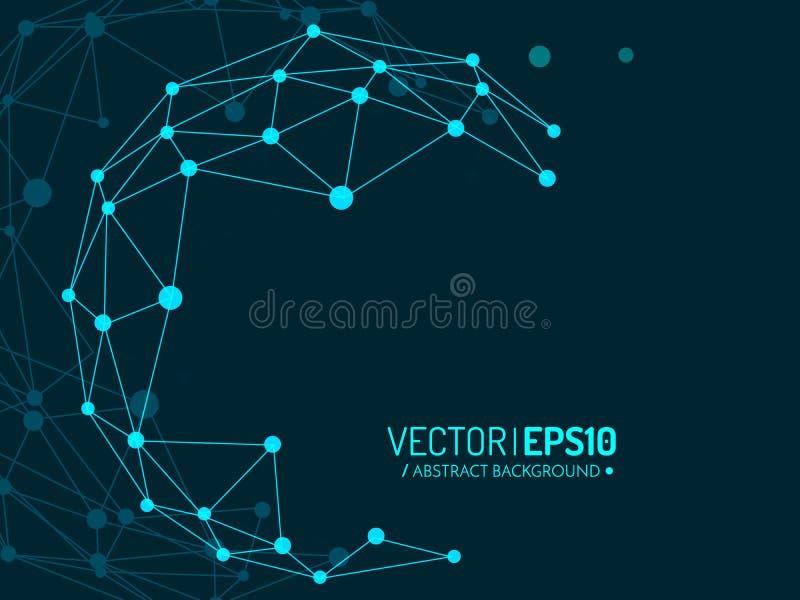 Globo azul com linhas e pontos Projeto de conceito da conexão ilustração stock