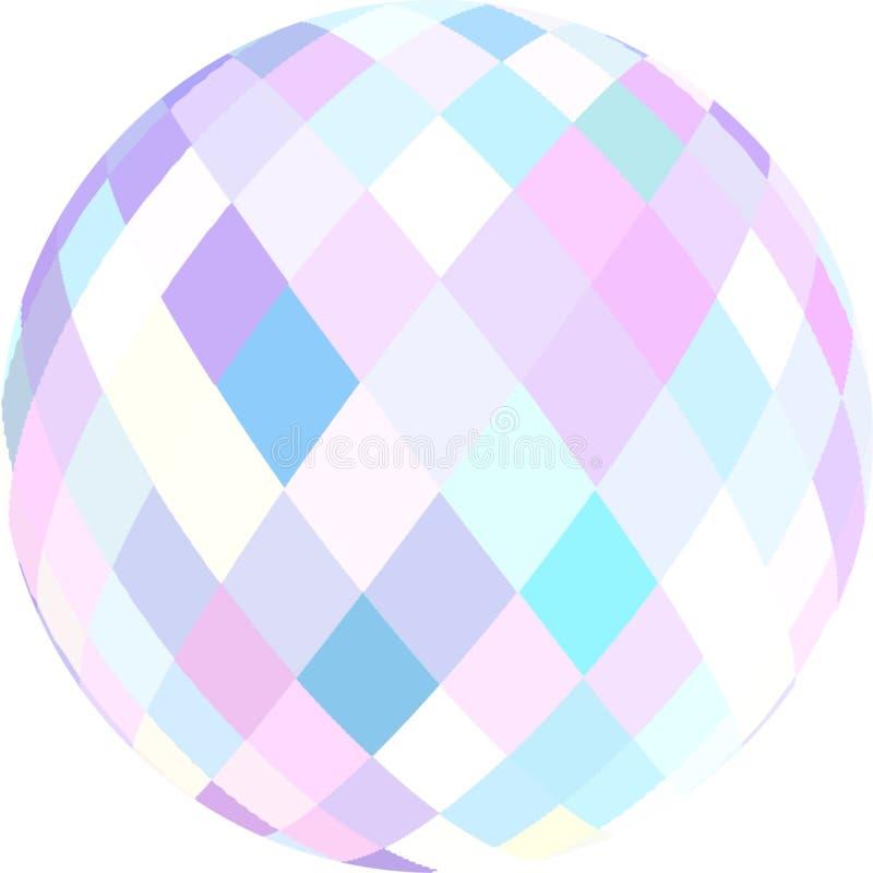 Globo azul cor-de-rosa branco de cristal brilhante 3d Elemento abstrato isolado Símbolo redondo de vidro criativo ilustração do vetor