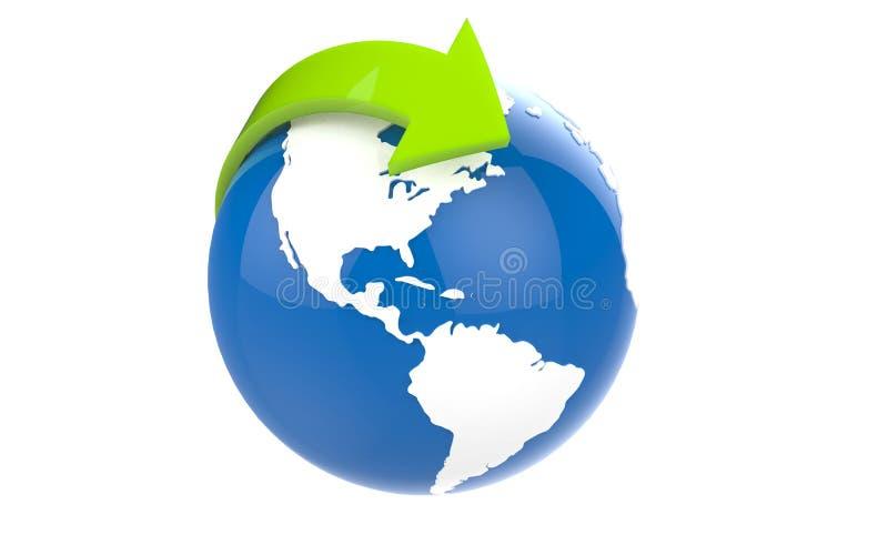 Globo azul de la tierra con los continentes blancos ilustración del vector