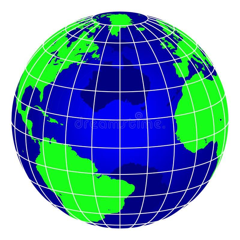 Globo azul del mundo de la raya ilustración del vector