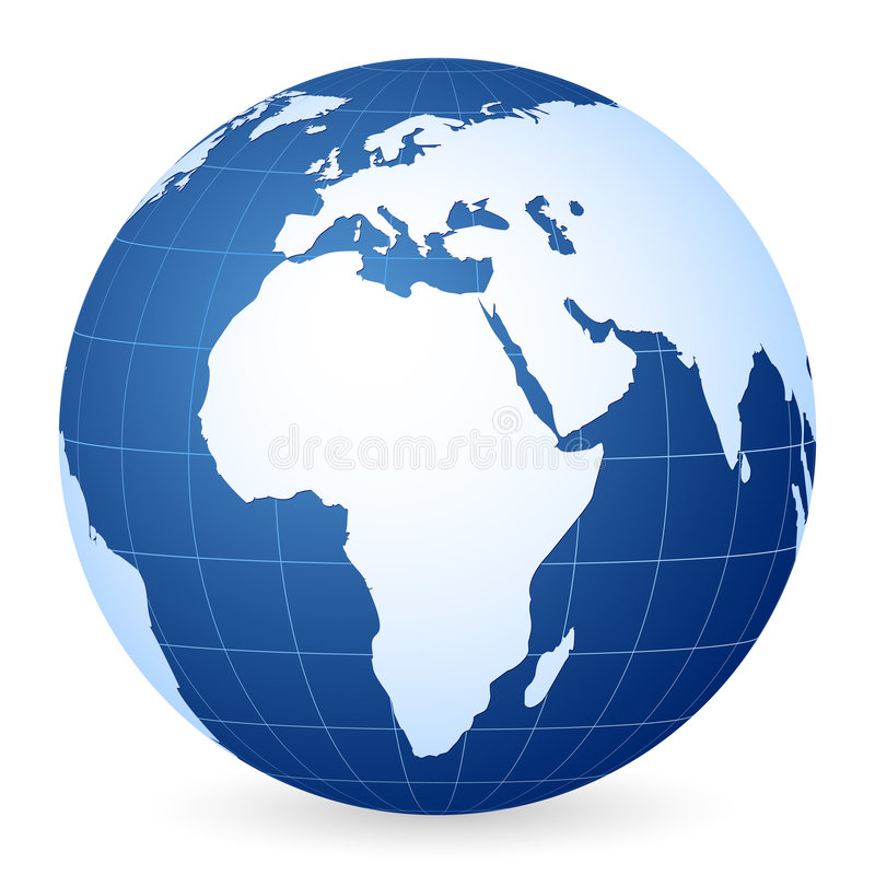 Globo azul do mundo ilustração royalty free