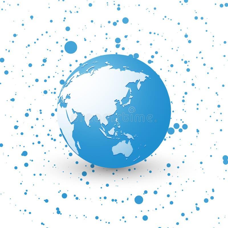 Globo azul do mundo na terra pontilhada Ásia do planeta do fundo ilustração do vetor