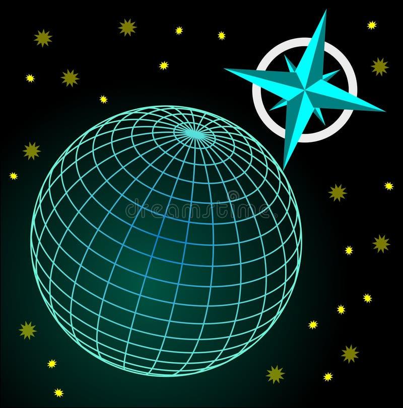 Globo azul e verde de Wireframe no c?u escuro com estrelas, symbole cardinal dos sentidos ilustração do vetor