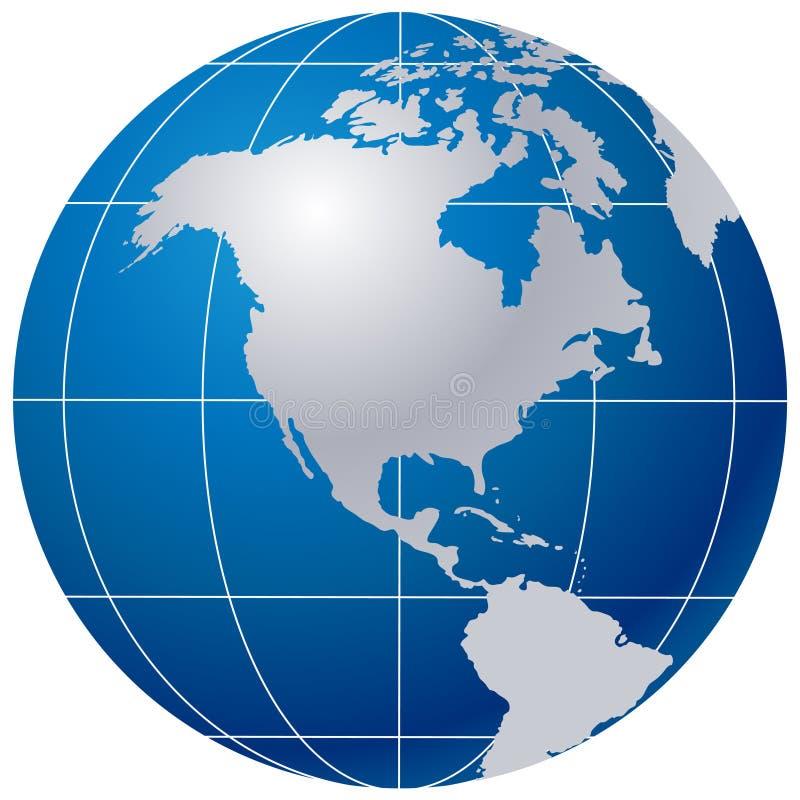 Globo azul no branco ilustração do vetor