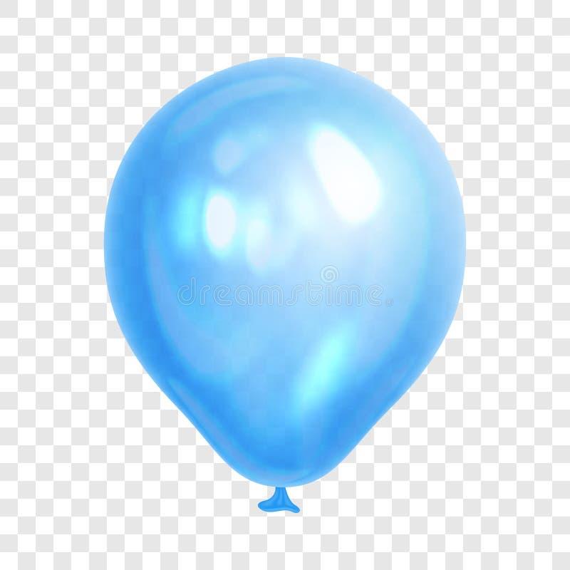 Globo azul realista, en fondo transparente ilustración del vector