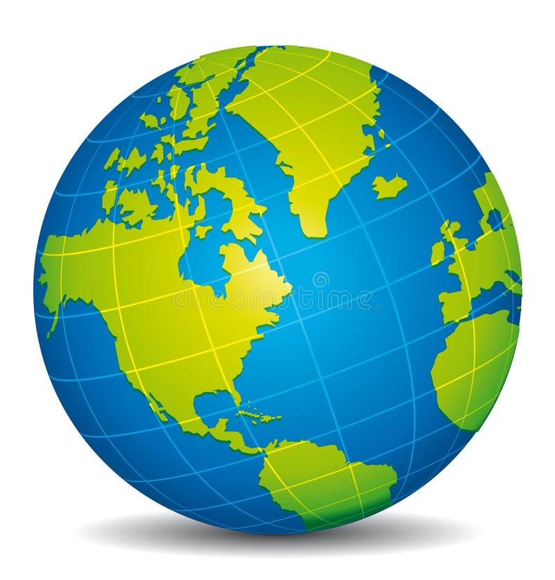 Globo azul y verde hermoso 3d América y Atlántico ilustración del vector