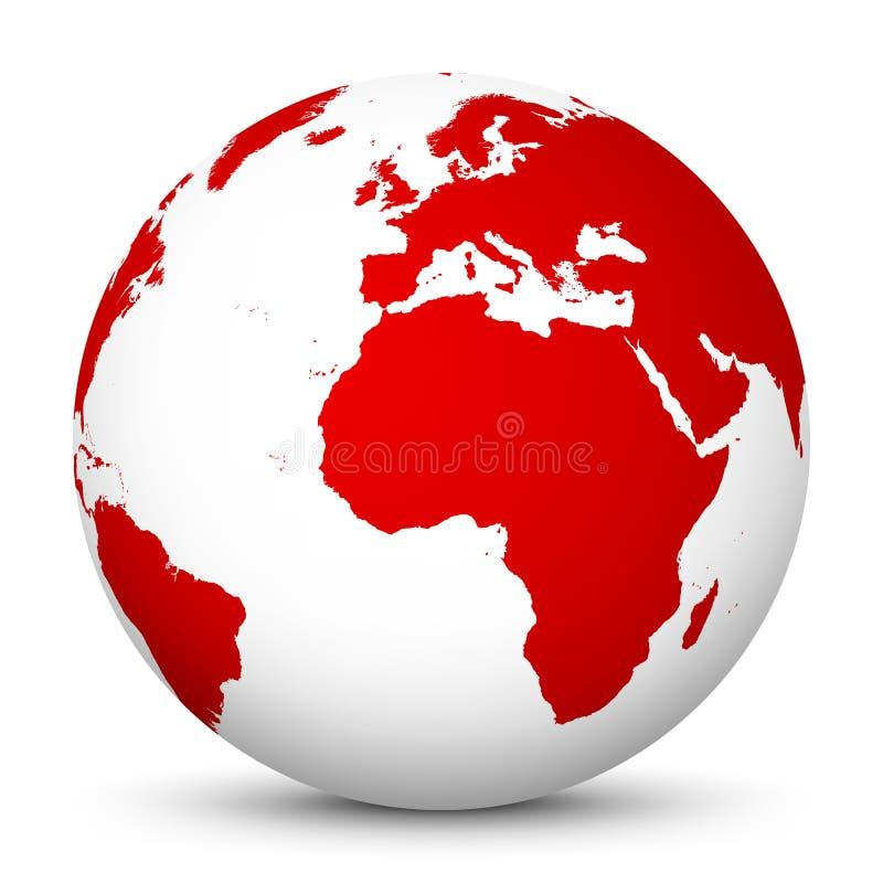 Globo blanco del vector con los continentes rojos - Europa y África - tierra del planeta ilustración del vector