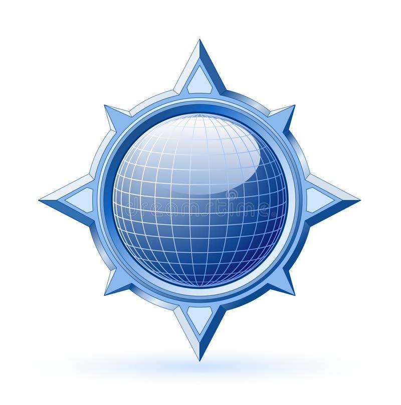 Globo blu all'interno della rosa di bussola illustrazione di stock