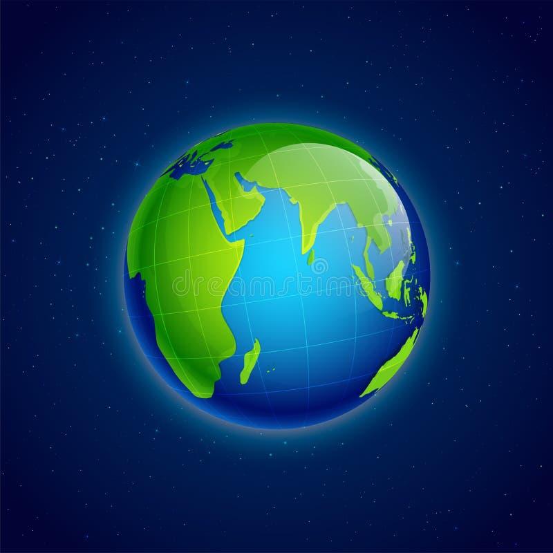 Globo brillante de la tierra en fondo azul stock de ilustración